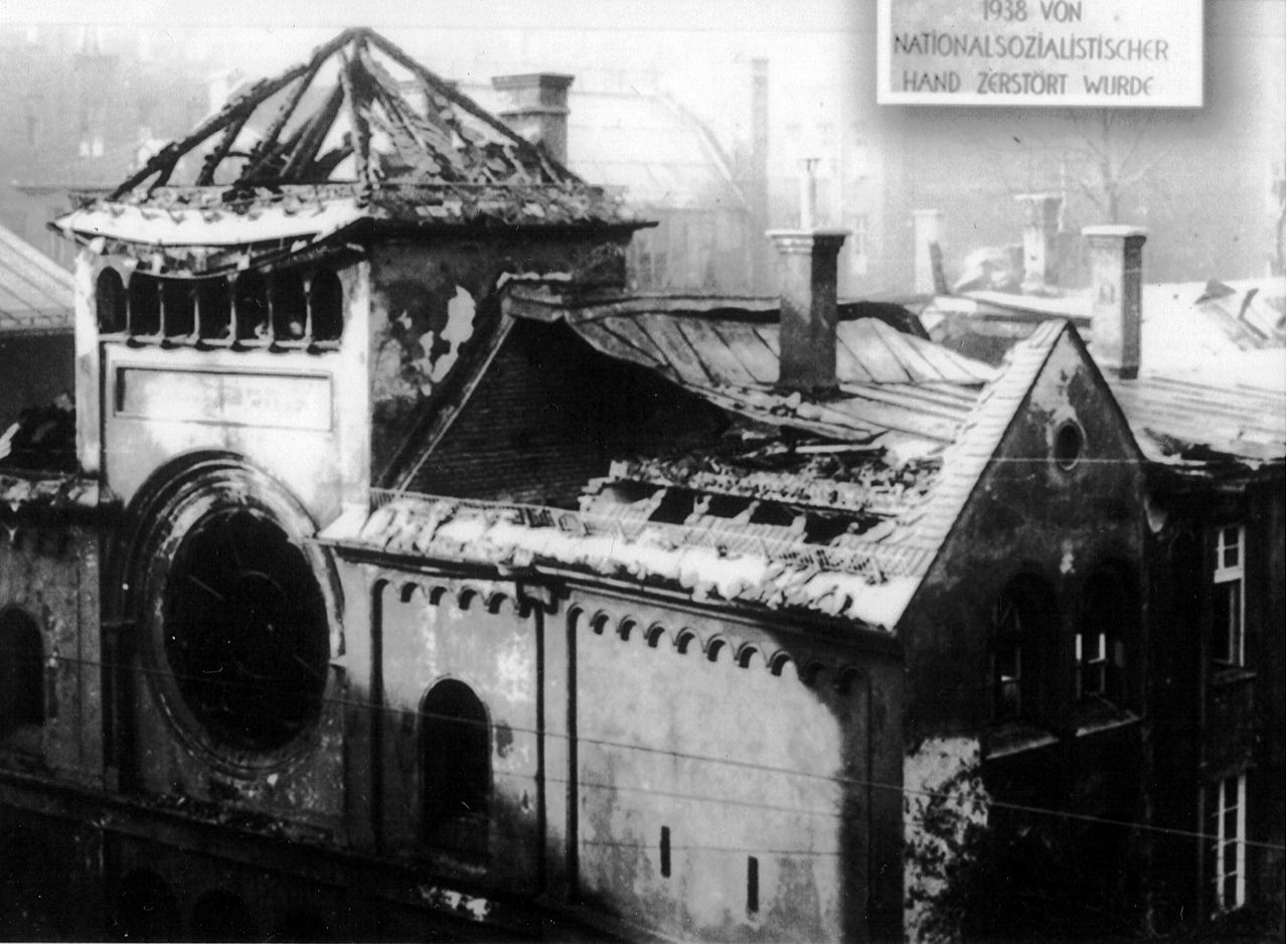 Ohel Jakob Synagogue in Munich in ruins after Kristallnacht