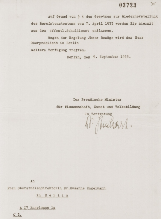 Letter from the German Minister of Science, Art, and National Education dismissing Dr. Susanne Engelmann from her teaching position under the Civil Service Law